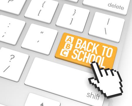 alfabet: Back to school enter key with hand cursor. 3D rendering