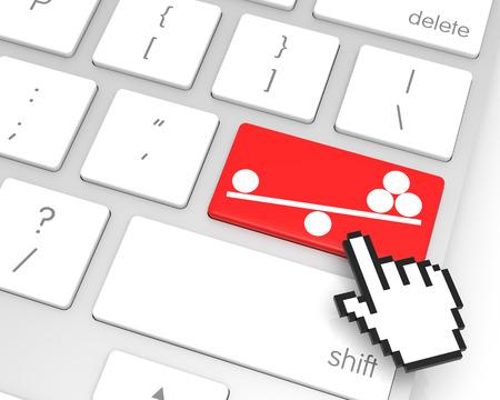 hand cursor: Balance enter key with hand cursor. 3D rendering Stock Photo