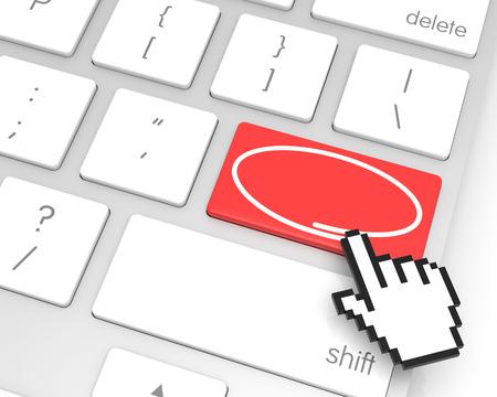 3d cursor: Checkmark enter key with hand cursor. 3D rendering