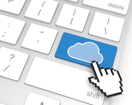 hand cursor: Cloud enter key with hand cursor. 3D rendering