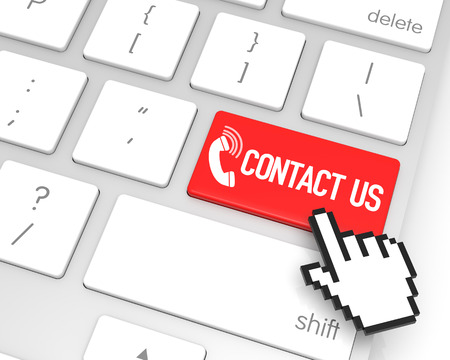 hand cursor: Contact Us enter key with hand cursor. 3D rendering