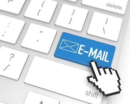hand cursor: E-Mail enter key with hand cursor. 3D rendering