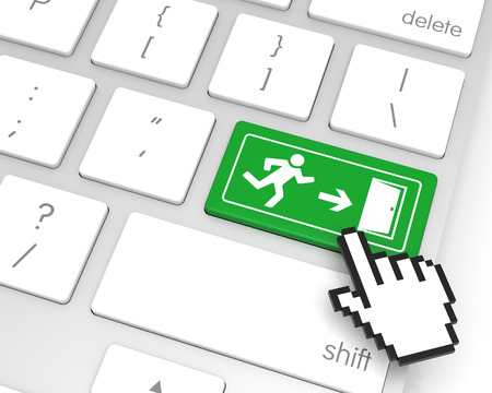 hand cursor: Exit enter key with hand cursor. 3D rendering Stock Photo