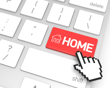 hand cursor: Home enter key with hand cursor. 3D rendering