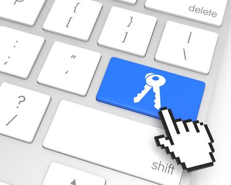 hand cursor: Access enter key with hand cursor. 3D rendering