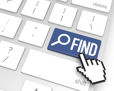 3d cursor: Find enter key with hand cursor. 3D rendering Stock Photo