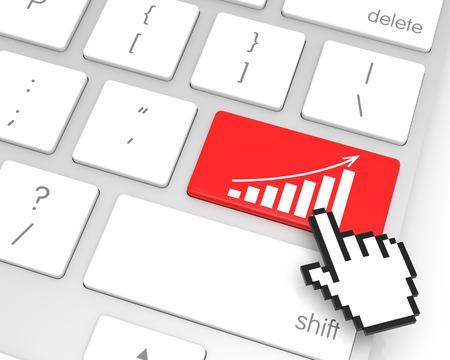 enter key: Bar Chart enter key with hand cursor. 3D rendering