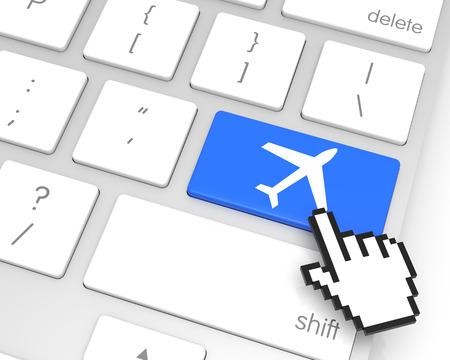 hand cursor: Plane enter key with hand cursor. 3D rendering