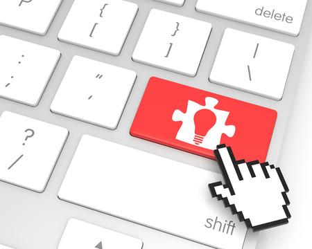 3d cursor: Idea enter key with hand cursor. 3D rendering Stock Photo