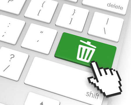 Recycle bin enter key with hand cursor. 3D rendering