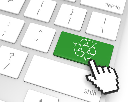 Recycle enter key with hand cursor. 3D rendering Stok Fotoğraf