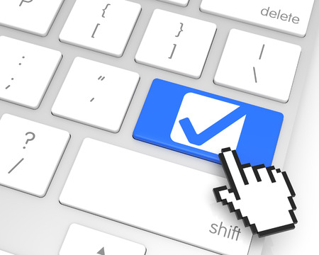 electronic voting: Check Mark enter key with hand cursor. 3D rendering Stock Photo