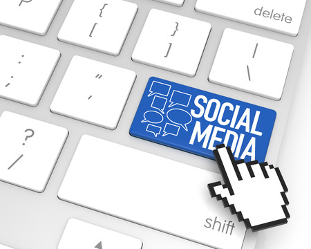 hand cursor: Social Media enter key with hand cursor. 3D rendering