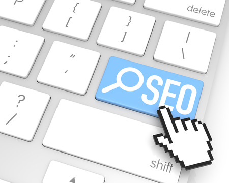SEO enter key with hand cursor. 3D rendering photo