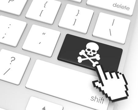 Skeleton enter key with hand cursor. 3D rendering Stock Photo