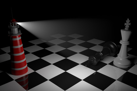shinning: A game of chess comes to an end. The king is checkmated. 3D RenderingBlack and white chess board with dramatic lighting.