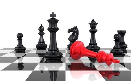 chess piece: A game of chess comes to an end. The king is checkmated. Three Dimensional Rendering Stock Photo