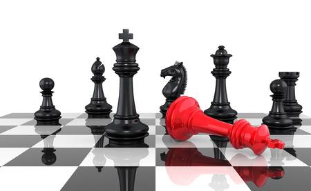 Een spel van schaak komt een einde. De koning is schaakmat. Drie dimensionale weergave