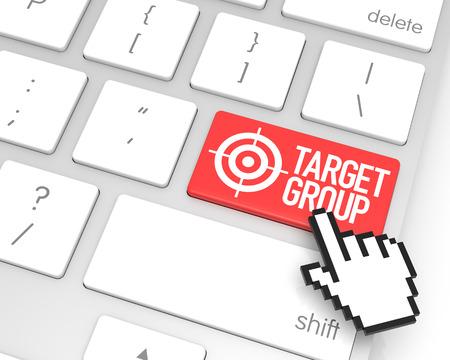 hand cursor: Target group enter key with hand cursor. 3D rendering