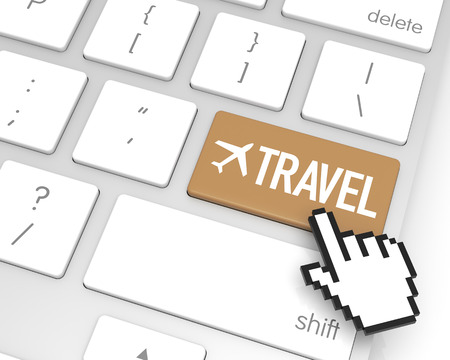 hand cursor: Travel enter key with hand cursor. 3D rendering Stock Photo