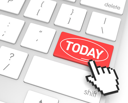 hand cursor: Today enter key with hand cursor. 3D rendering Stock Photo