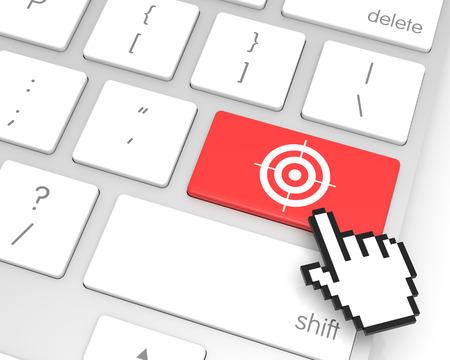 enter key: Target enter key with hand cursor. 3D rendering