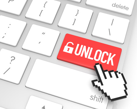 communications technology: Unlock enter key with hand cursor. 3D rendering