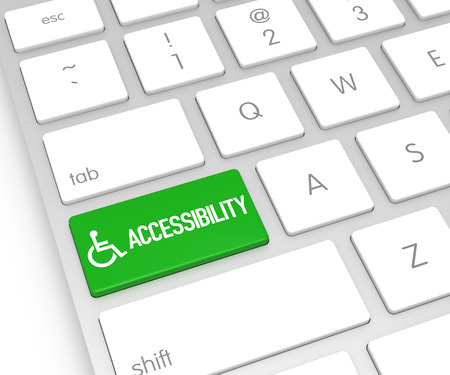 accessibility: Computer Keyboard with Accessibility Button. 3D Rendering Stock Photo