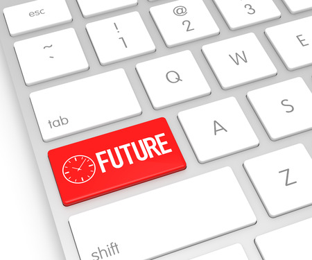 foresight: Computer Keyboard with Future Button. 3D Rendering Stock Photo