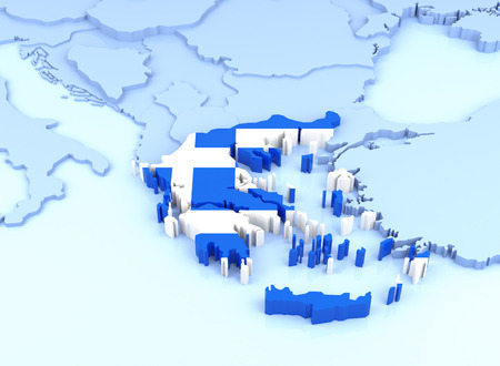 european community: Europe Map, Greece with Flag. 3D Rendering Stock Photo