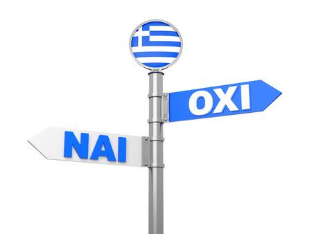 european community: Oxi - Nai  A Historic Greek Vote sign... Stock Photo