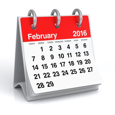 calendar: F�vrier 2016 - Desktop Calendar Spiral Banque d'images