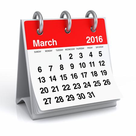 Maart 2016 - Desktop Spiral Calendar