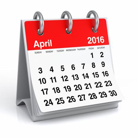April 2016 - Desktop Spiral Calendar Stock Photo - 44114408
