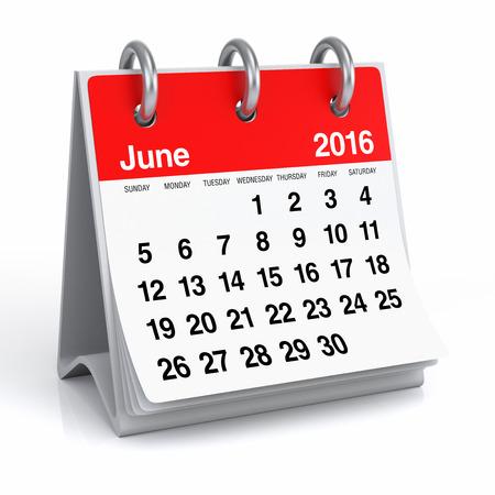 year 3d: June 2016 - Desktop Spiral Calendar Stock Photo