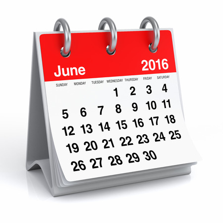 June 2016 - Desktop Spiral Calendar Stock Photo - 44114409