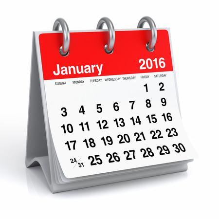 Januari 2016 - Desktop Spiral Calendar Stockfoto