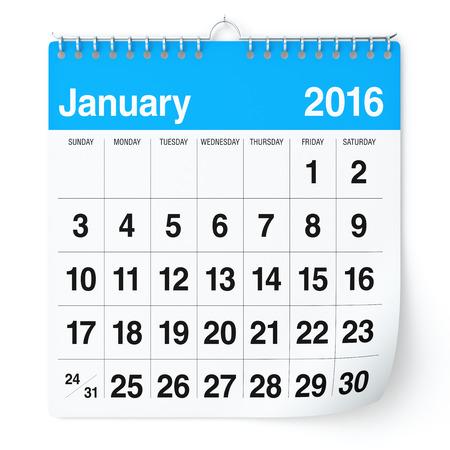 january calendar: January 2016 - Calendar. Isolated on White Background. 3D Rendering Stock Photo