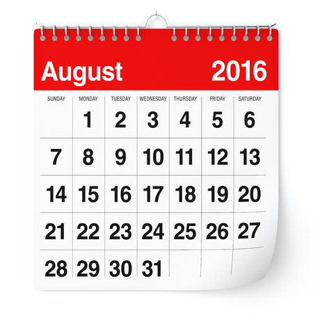 August 2016 - Calendar. Isolated on White Background. 3D Rendering