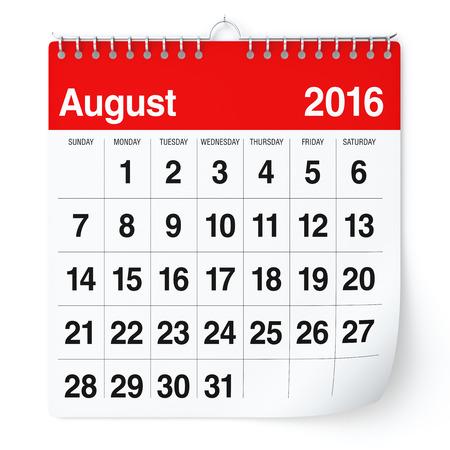 Augustus 2016 - Kalender. Geïsoleerd op een witte achtergrond. 3D Rendering Stockfoto