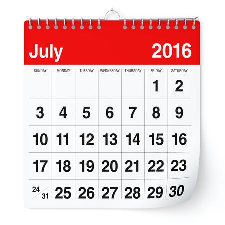 kalendarz: Lipiec 2016 - Kalendarz. Pojedynczo na białym tle. 3D Rendering
