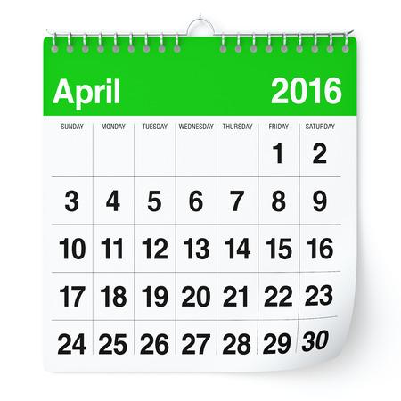 meses del a�o: De abril de 2016 - Calendario. Aislado en el fondo blanco. Representaci�n 3D