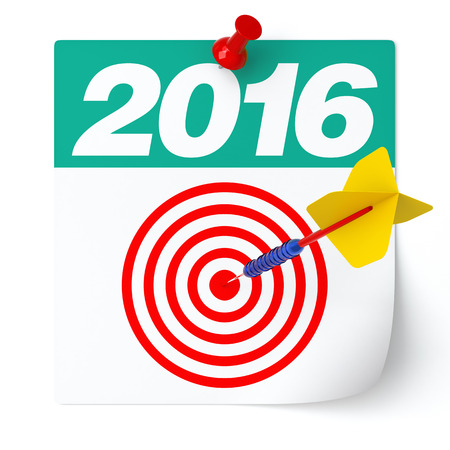 Target Year 2016 Consept. Isolated on White. 3D Rendering