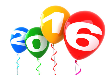 change concept: New Year Balloons. 3d render isolated on white background.