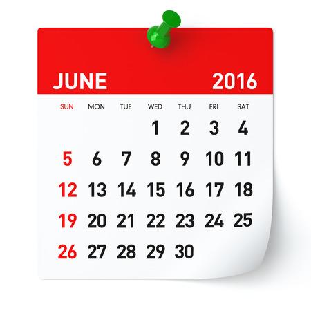meses del a�o: De junio de 2016 - Calendario. Aislado en blanco, fondo. Representaci�n 3D