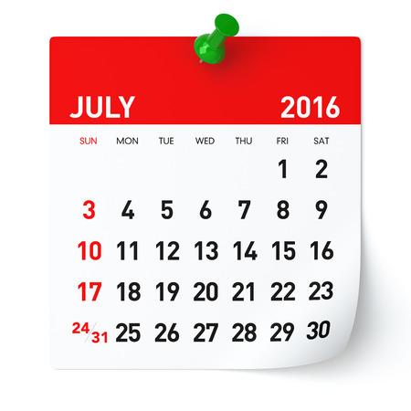 calendario julio: De julio de 2016 - Calendario. Aislado en blanco, fondo. Representaci�n 3D Foto de archivo