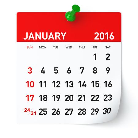 january: 01 2016 - Calendario. Aislados en blanco, fondo. Representaci�n 3D