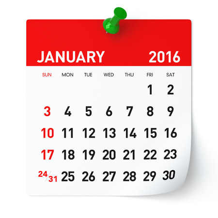 january: January 2016 - Calendar. Isolated on White, Background. 3D Rendering Stock Photo