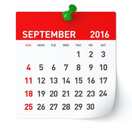 September 2016 - Calendar. Isolated on White, Background. 3D Rendering