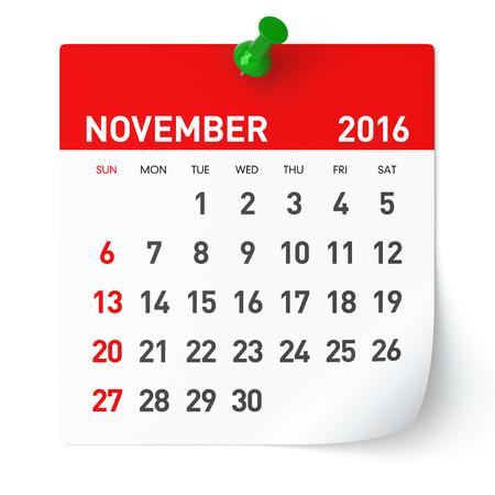 November 2016 - Kalender. Geïsoleerd op een witte, Achtergrond. 3D Rendering